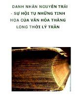 DANH NHÂN NGUYỄN TRÃI - SỰ HỘI TỤ NHỮNG TINH HOA CỦA VĂN HÓA THĂNG LONG THỜI LÝ TRẦN ppt