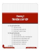 Chương 2 TÌM KI M & S P X P2.1. Các gi i thu t tìm ki m 2.1.1. Bài toán tìm ki m 2.1.2. Gi pptx