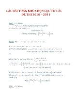 CÁC BÀI TOÁN KHÓ CHỌN LỌC TỪ CÁC ĐỀ THI 2010– 2011_2 potx