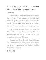Giáo án hình học lớp 8 - Tiết 38 ĐỊNH LÝ ĐẢO VÀ HỆ QUẢ CỦA ĐỊNH LÝ TA-LÉT pot