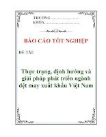 Báo cáo tốt nghiệp: Thực trạng, định hướng và giải pháp phát triển ngành dệt may xuất khẩu Việt Nam ppsx