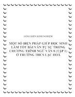 skkn một số biện pháp giúp học sinh làm tốt bài văn tự sự trong chương trình ngữ văn 8 (tập 1) ở trường thcs lạc hoà