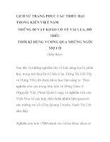LỊCH SỬ TRANG PHỤC CÁC TRIỀU ĐẠI TRONG KIẾN VIỆT NAM NHỮNG DI VẬT KHẢO CỔ VỀ VẢI LỤA, ĐỒ THÊU THỜI KÌ HÙNG VƯƠNG QUA NHỮNG NGÔI MỘ CỔ - PHẦN 2 ppsx