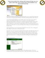 Giáo trình phân tích những tính năng nổi bật của các phần mềm diệt virus trong danh sách Wildlist của microsoft security p1 potx