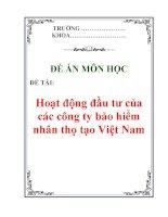 Đề án môn học: Hoạt động đầu tư của các công ty bảo hiểm nhân thọ tạo Việt Nam pps