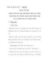 Giáo án địa lý lớp 7 - Bài 28 : THỰC HÀNH PHÂN TÍCH LƯỢC ĐỒ PHÂN BỐ CÁC MÔI TRƯỜNG TỰ NHIÊN .BIỂU ĐỒ NHIỆT ĐỘ VÀ LƯỢNG MƯA Ở CHÂU PHI ppt
