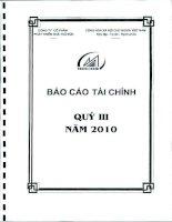 CÔNG TY cổ PHẦN PHÁT TRIỂN NHÀ THỦ đức báo cáo tài chính quý 3 năm 2010