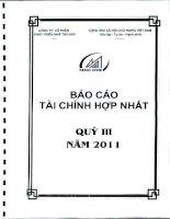 CÔNG TY cổ PHẦN PHÁT TRIỂN NHÀ THỦ đức báo cáo tài chính hợp nhất quý 3 năm 2011