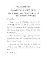 Giáo án hình học lớp 8 - Tiết 37: §1: ĐỊNH LÝ TA-LÉT TRONG TAM GIÁC doc