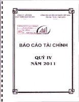 CÔNG TY cổ PHẦN PHÁT TRIỂN NHÀ THỦ đức báo cáo tài chính quý 4 năm 2011