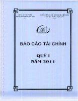 CÔNG TY cổ PHẦN PHÁT TRIỂN NHÀ THỦ đức báo cáo tài chính quý 1 năm 2011