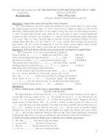 KỲ THI CHỌN ĐỘI TUYỂN HỌC SINH GIỎI LỚP 12 - THPT THANH HOÁ Năm học 2010-2011 ppt