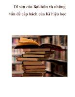 Di sản của Bakhtin và những vấn đề cấp bách của Kí hiệu học ppt