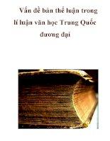 Vấn đề bản thể luận trong lí luận văn học Trung Quốc đương đại docx