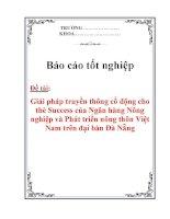 Báo cáo tốt nghiệp: Giải pháp truyền thông cổ động cho thẻ Success của Ngân hàng Nông nghiệp và Phát triển nông thôn Việt Nam trên đại bàn Đà Nẵng pdf