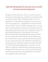 CÁCH VIẾT MỞ BÀI MỘT BÀI VĂN NGHỊ LUẬN VÀ TUYỂN TẬP NHỮNG MỞ BÀI THAM KHẢO phần 3 pptx