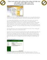 Giáo trình phân tích những tính năng nỗi bật của các phần mềm diệt virus như Avast,Kapersky,Pc-cillin,Avira p1 pps