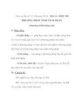 Giáo án đại số 12:MỘT SỐ PHƯƠNG PHÁP TÍNH TÍCH PHÂN (chương trình nâng cao) pptx