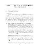 GIÁO TRÌNH LẬP TRÌNH QUẢN LÝ VỚI MICROSOFT OFFIC ACCESS - BÀI 9 LÀM VIỆC VỚI ĐỐI TƯỢNG TRONG ACCESS ppt