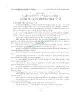 GIÁO TRÌNH BÁNH TRUYỀN THỐNG VIỆT NAM - CHƯƠNG IV CÁC NGUYÊN TẮC CHẾ BIẾN BÁNH TRUYỀN THỐNG VIỆT NAM ppt