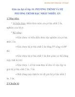 Giáo án đại số lớp 10: PHƯƠNG TRÌNH VÀ HỆ PHƯƠNG TRÌNH BẬC NHẤT NHIỀU ẨN - 2 ppsx