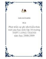 """Đề tài """"Phát triển sự ghi nhớ kiến thức mới của học sinh lớp 10 trường THPT LONG THẠNH năm học 2008-2009 """" potx"""