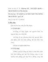 Giáo án đại số 12: NGUYÊN HÀM – TÍCH PHÂN VÀ ỨNG DỤNG pptx