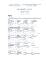 ĐỀ THI TRẮC NGHIỆM Môn thi: Tiếng Anh 12 - Trường THPT Bán Công Lai Vung ppt