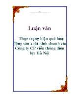 Luận văn: Thực trạng hiệu quả hoạt động sản xuất kinh doanh cỉa Công ty CP viễn thông điện lực Hà Nội ppt