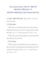 Giáo án đại số lớp 10: MỘT SỐ PHƯƠNG TRÌNH QUI VỀ PHƯƠNG TRÌNH BẬC NHẤT HOẶC BẬC HAI pps