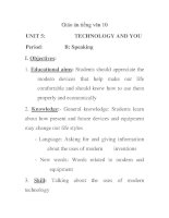 Giáo án tiếng anh 10: UNIT 5: Period: I. Objectives: potx