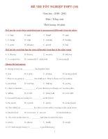 ĐỀ THI TỐT NGHIỆP THPT (10) Năm học : 2010 - 2011 Môn : Tiếng Anh potx