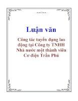Luận văn: Công tác tuyển dụng lao động tại Công ty TNHH Nhà nước một thành viên Cơ điện Trần Phú ppt