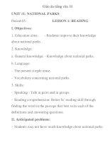 Giáo án tiếng anh lớp 10: UNIT 11: NATIONAL PARKS Period 65 pdf