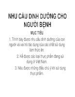 Giáo án khoa điều dưỡng - NHU CẦU DINH DƯỠNG CHO NGƯỜI BỆNH potx
