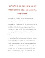 TƯ TƯỞNG HỒ CHÍ MINH VỀ SỰ THỐNG NHẤT GIỮA LÝ LUẬN VÀ THỰC TIỄN docx