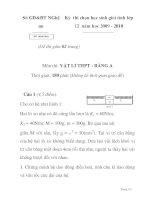 Đề thi chọn học sinh giỏi môn vật lý lớp 12 tỉnh Nghệ an năm 2009 - 2010 - đề 1 potx