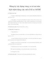Đăng ký xây dựng vùng, cơ sở an toàn dịch bệnh động vật; mã số hồ sơ 145282 ppt