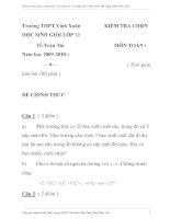 Đề thi chọn học sinh gỏi trường môn toán lớp 12 Trường THPT Vinh Xuân, Phú Vang, Thừa Thiên Huế ppsx