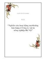 """Luận văn: """"Nghiên cứu hoạt động marketing bán hàng ở Công ty vật tư nông nghiệp Hà Nội"""" ppsx"""