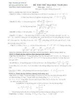 Đề thi thử toán - 2 (có đáp án kèm theo) potx