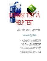 Báo cáo đề tài DATABASE TEST VÀ HELP TEST