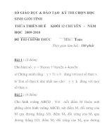 Đề thi học sinh giỏi môn toán lớp 12 chuyên tỉnh Thừa Thiên Huế năm 2009 - 2010 - đề 2 ppt