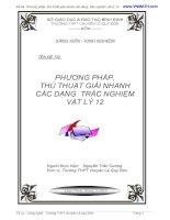 Đề tài: Phương pháp thủ thuật giải nhanh các dạng trắc nghiệm vật lí 12 pptx