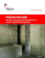 fixed income investor update may 2014 christof hassig head corporate finance treasury m a and insurance dominik liebi capital markets bank relationship manager 2014 holcim