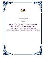 Đề tài: Một số giải pháp marketing nhằm nâng cao hiệu quả sản xuất kinh doanh của Nhà xuất bản Giao thông vận tải docx
