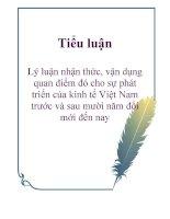 Tiểu luận: Lý luận nhận thức, vận dụng quan điểm đó cho sự phát triển của kinh tế Việt Nam trước và sau mười năm đổi mới đến nay ppsx