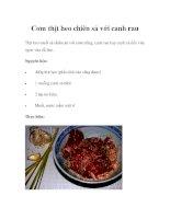 Cơm thịt heo chiên sả với canh rau pptx