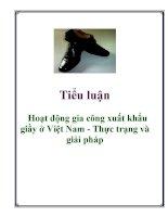 Tiểu luận: Hoạt động gia công xuất khẩu giầy ở Việt Nam - Thực trạng và giải pháp doc