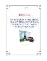 Tiểu luận: Thuyết quản lý hệ thống của N.P. Berlatafly và sự vận dụng ở các doanh nghiệp Việt Nam pdf
